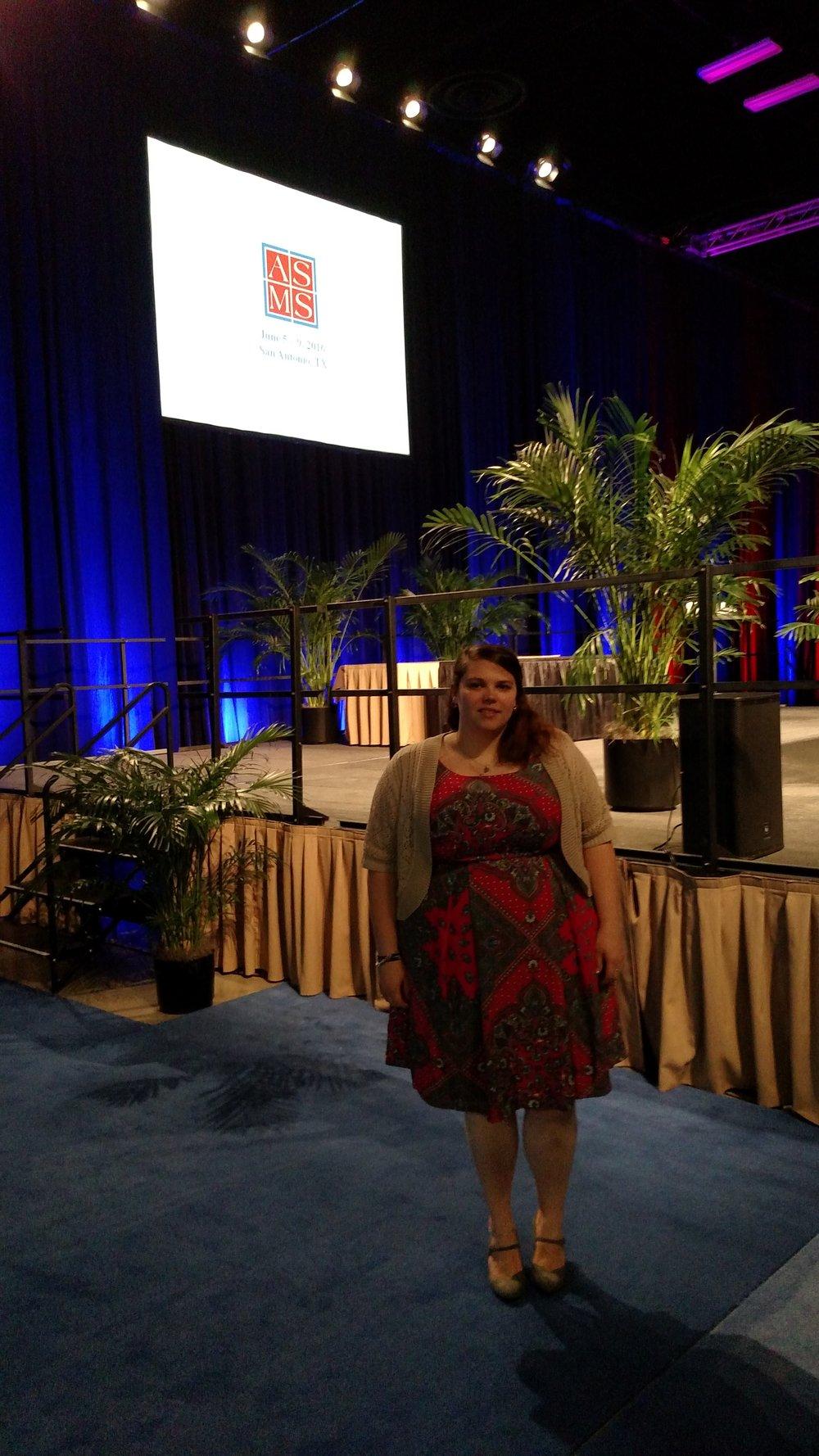 Justine presenting at ASMS 2016.