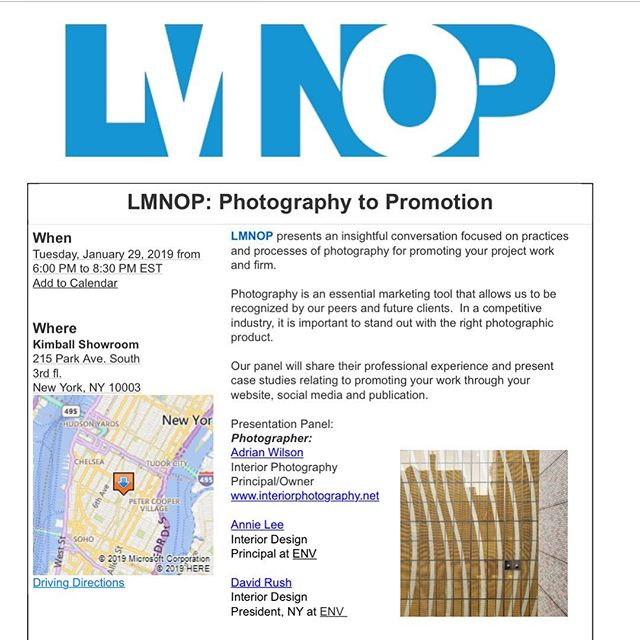 This month we discuss an essential marketing tool that is always a focus of conversations: Photography to Promotion. Join us, Jan 29th @kimballbrand showroom at 6:00pm. Registration link in bio 🎟⬆️ You don't want to this this one! || #lmnopnyc #kimballshowroom #workshop #photography #promotion #interiordesign #nyc
