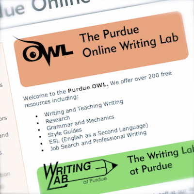 the purdue online writing lab Using modern language association (mla) format brought to you by the purdue university online writing lab purdue's owl also offers information about other citation.