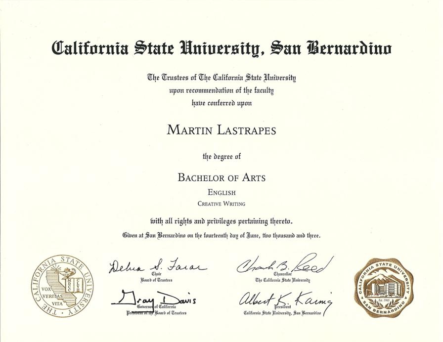 Ba in creative writing california