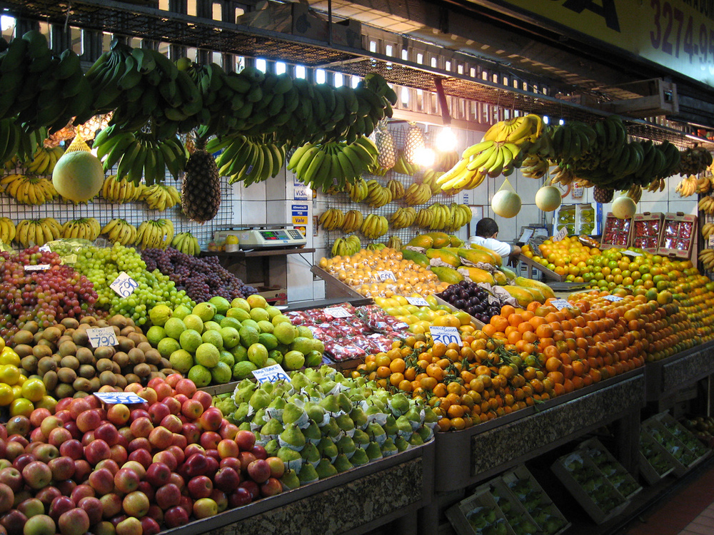 Fruit stand at a local market.