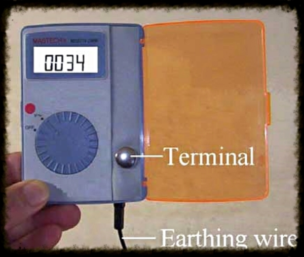 Body Voltage meter which can determine how much electric charge is reduced when earthing. Source