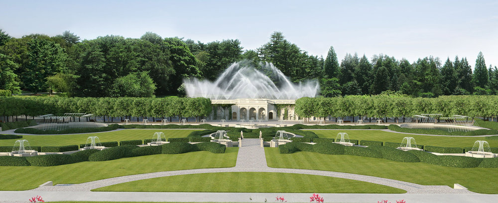 Artist's rendering of the completed revitalization of the Main Fountain Garden. Image courtesy of Longwood Gardens Archive Collection.