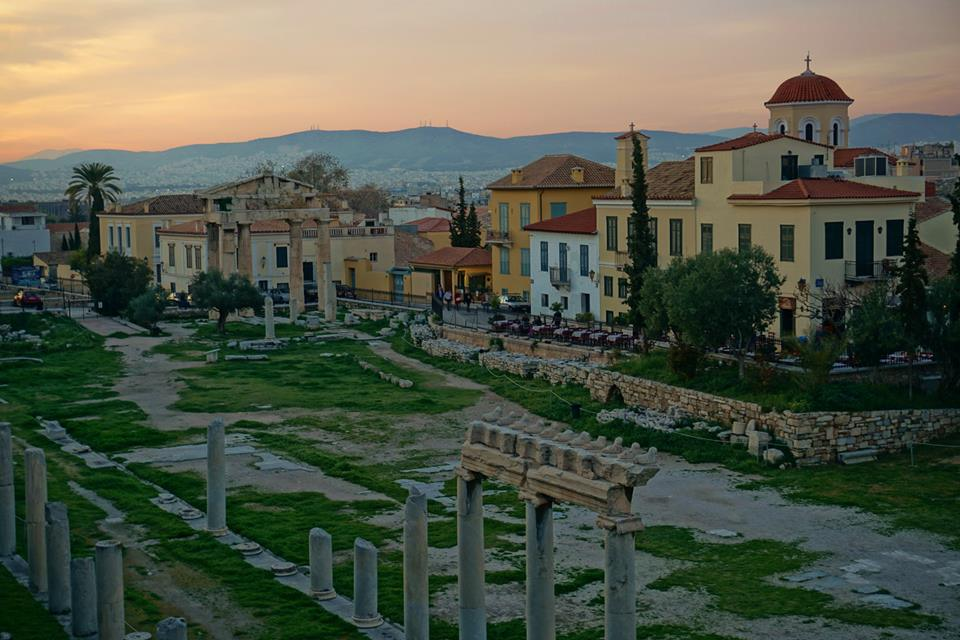 As the sun sets, the colours of the Mediterranean sky capture the beauty of the historical significance of this ancient city.— at Stoa of Attalos