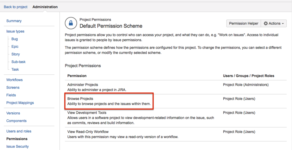 And Role to Permissions through Project Permissions (note that this is specific to roles on this project, so no role, no permissions