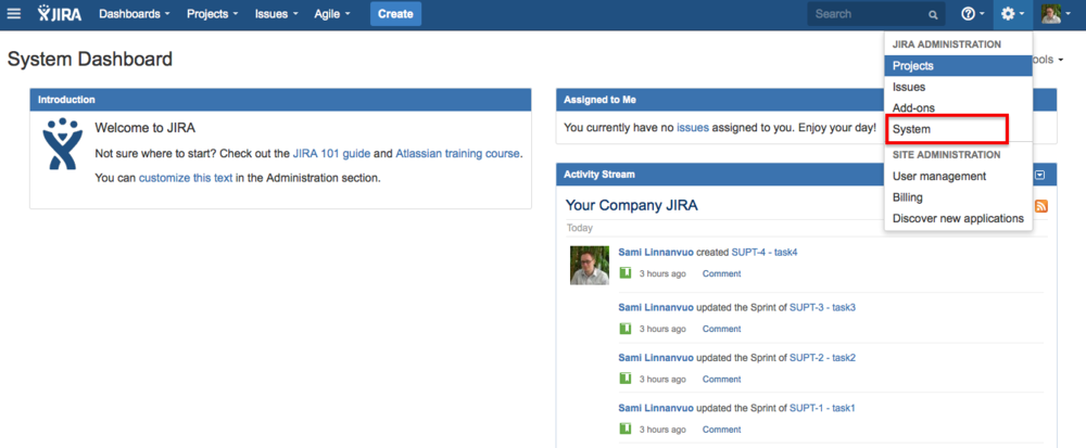 Select System from the Jira Administration menu on top right corner