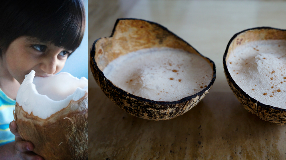 Zaya's absolute favourite! Young Coconut Meat    -    Coconut shells make the perfect Coconut Ice Cream bowls