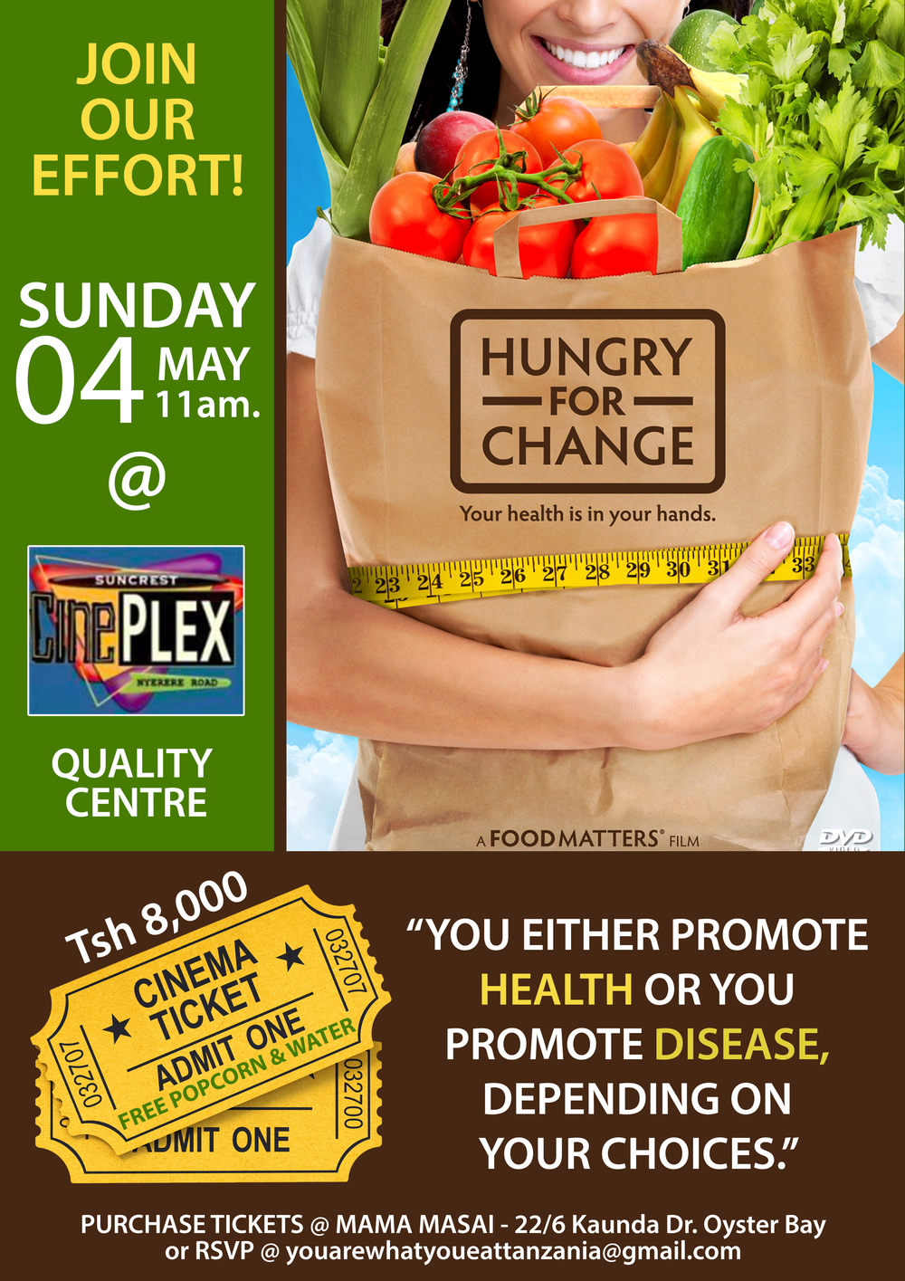"""Private screening of """"Hungry for Change"""" to raise money and propose a healthier menu at the school canteen"""
