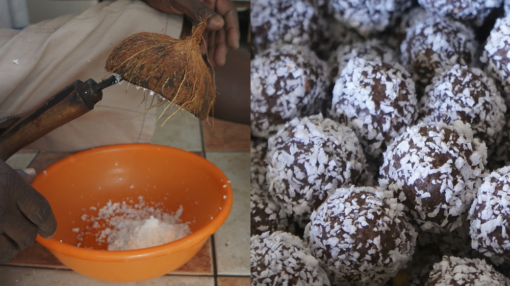 Fresh grated coconut    -     Chocolate Truffles dusted in dried coconut