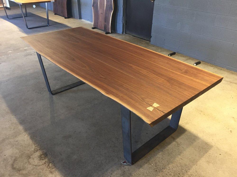 Black Walnut Dining Table Top U2014 Tree Purposed Detroit   Michigan Live Edge  Slabs   Reclaimed Wood