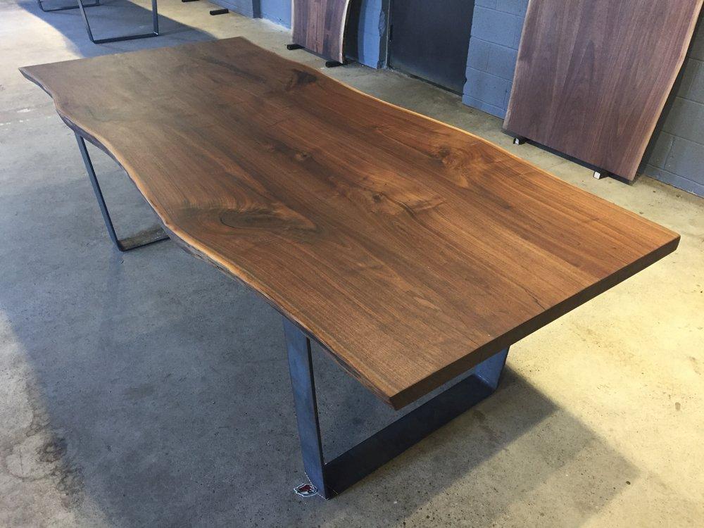 Bon Figured Black Walnut Dining Table Top U2014 Tree Purposed Detroit   Michigan  Live Edge Slabs   Reclaimed Wood