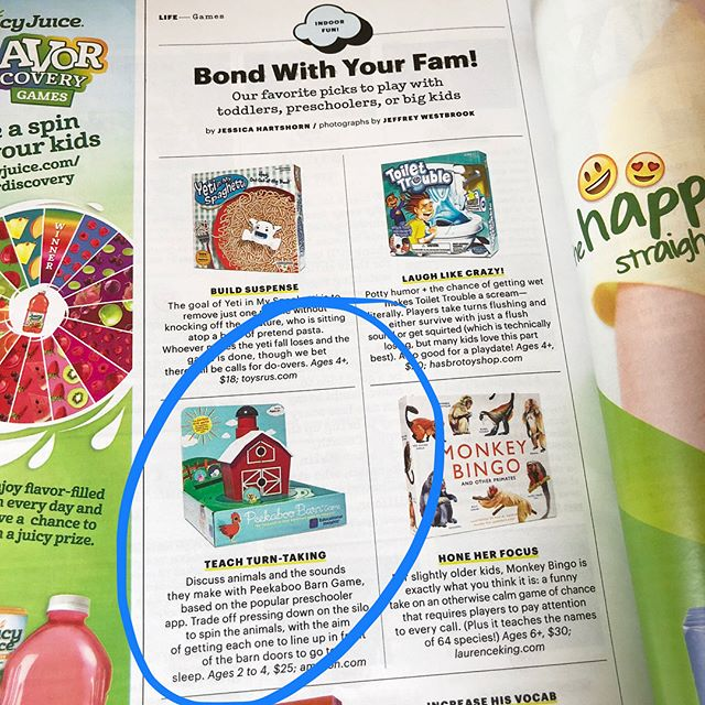Our game is @parents' pick for Indoor Fun! We're honored! #PeekabooBarn @educationalinsights #tabletopgames #game #toddlergames #earlychildhood #familybonding #preschoolgames #toddlers