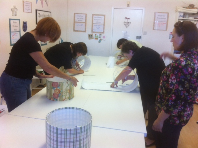 Lampshade making in progress