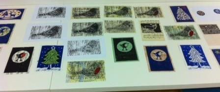More Lino Printing, drying before it was taken home.