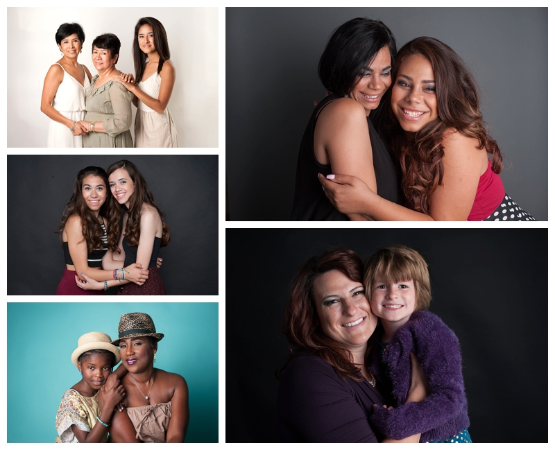 Mother's daughters and sisters. Top left: Gaby, Rosa, Yoshi. Middle left: Sofia and Chloe. Bottom left: Dominique and Tracey. Top right: Lisa, Diana. Bottom right: Jessica and Cariss