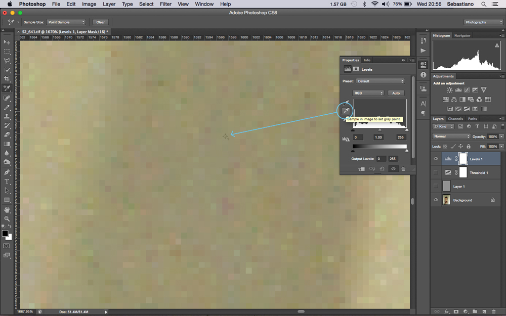 The colour sample tools target will still be visible and this is the exact area that should be targeted by the set grey point eyedropper from the layers window.