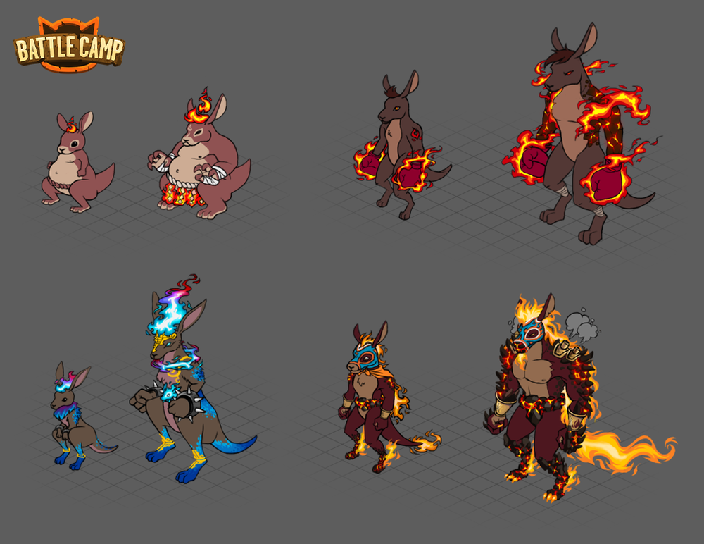 Concept work for Arena monsters, kangaroo set.