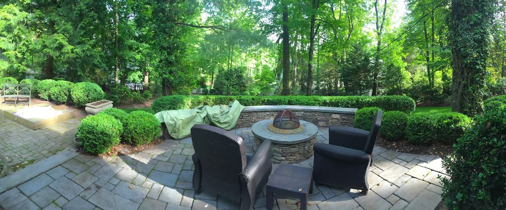 Tranquil firepit oasis, Boxwood shade garden after renovation pruning