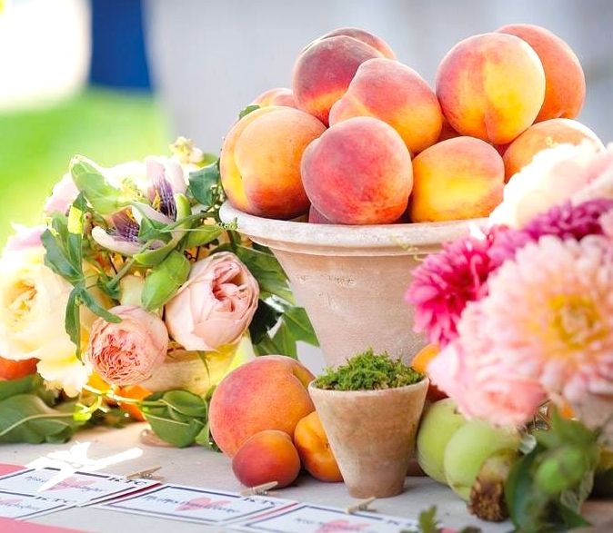 Peaches flowers bowl table.JPG