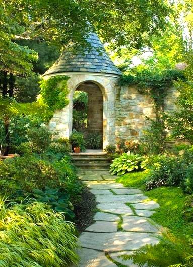 Garden arched turet stone path forest grass.JPG