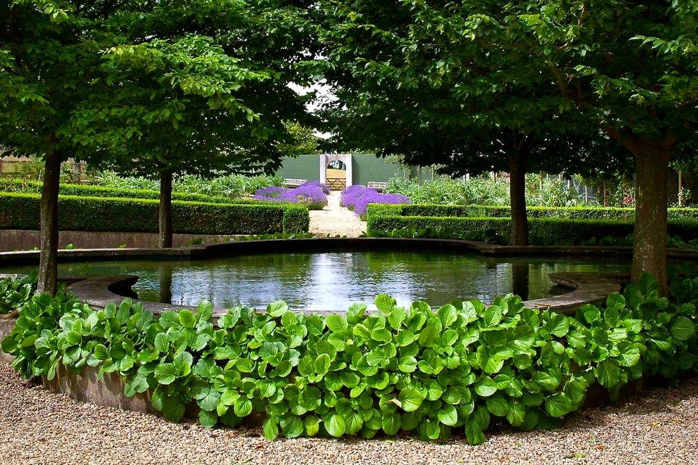 Garden Pool Lindens Lavender Path.JPG