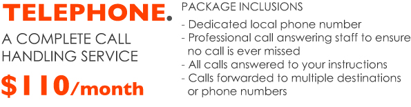Virtual Office Telephone package includes dedicated local number, professional call answering staff, all calls answered in you business name and call forwarded to multiple destinations.