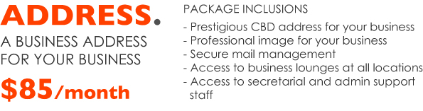 Package includes CBD address, professional image, secure mail management, access to business lounges and access to secretarial and admin support