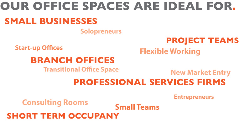 small businesses, solopreneurs, project teams, start-up offices, flexible working, branch offices, transitional office space, new market entry, professional services firms     Consulting rooms, small teams, short term occupancy