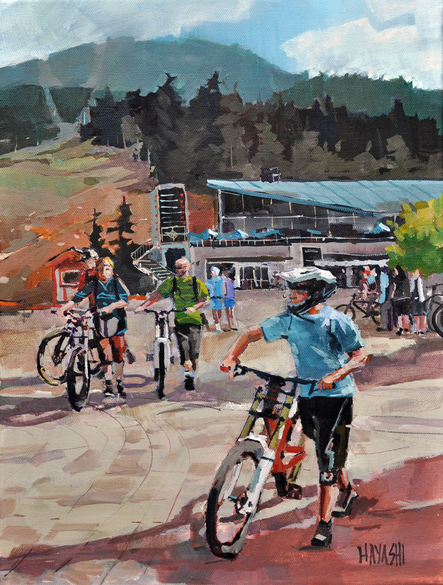Downhill Bikers 12x16 Mountain Galleries, Whistler BC
