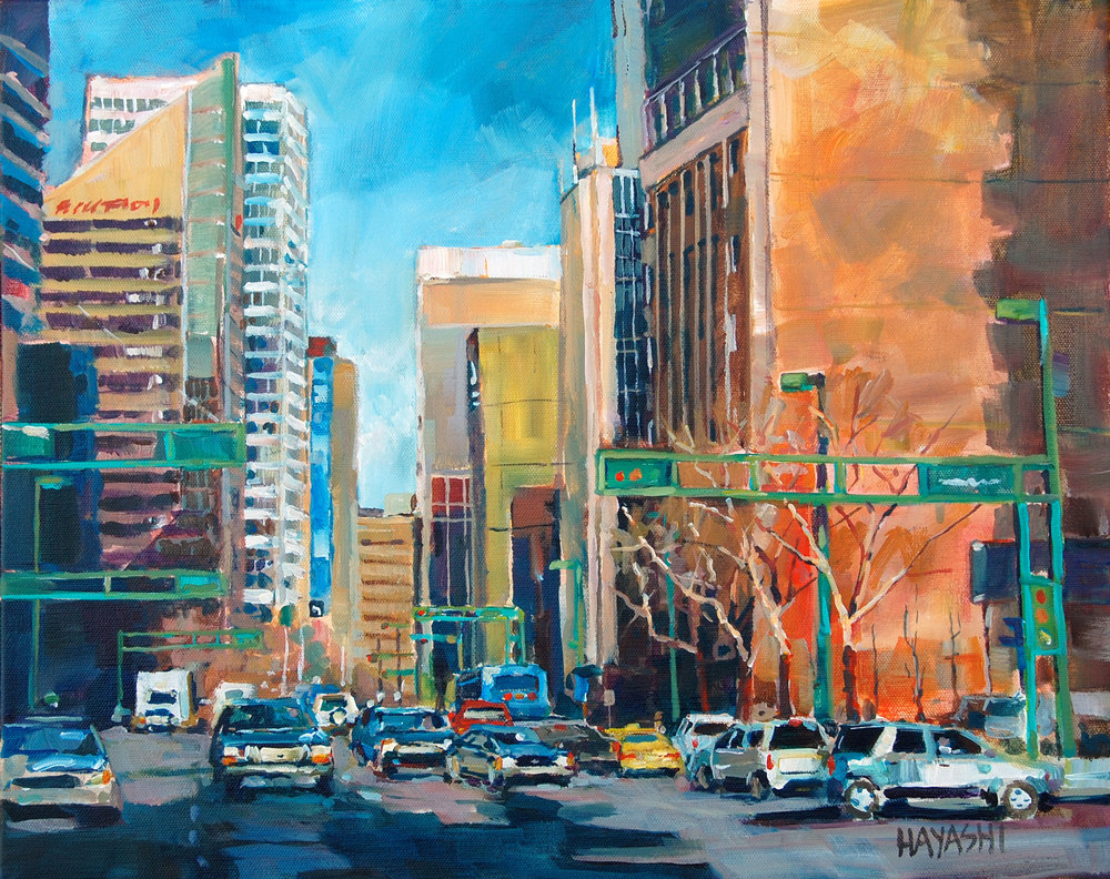 SOLD - Jasper Ave Morning 16x20 Edmonton, AB