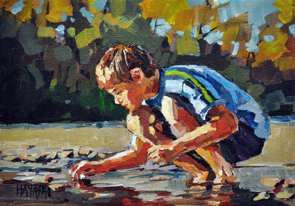 SOLD - Picking Rocks 5x7