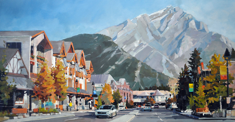 Autumn on Banff Avenue 18x36