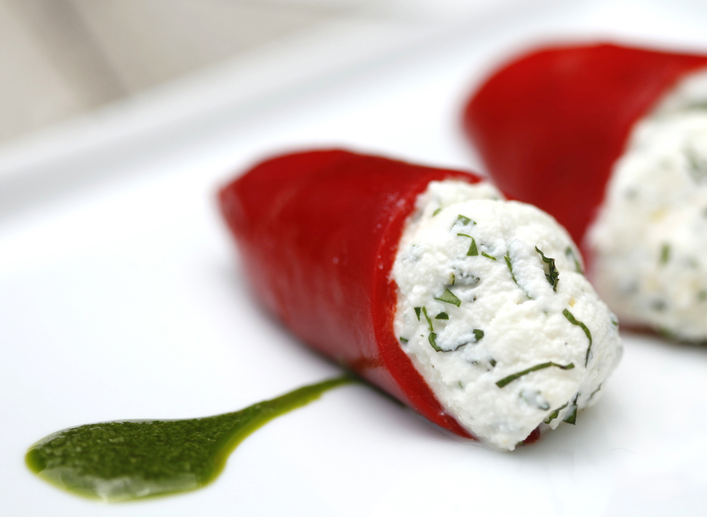 Herbed Goat Cheese stuffed Pequillo Peppers