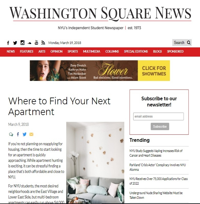 Washington Square News, March 9th, 2018.
