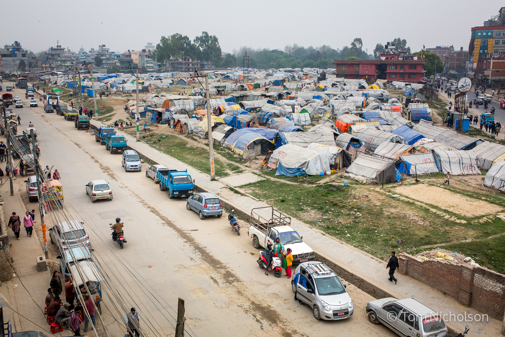 General view of the Internally Displaced Person (IDP) camp in Chuchepati, Kathmandu City, Nepal on 27 March 2016. The camp houses people in temporary accomodation due to the April 2015 earthquake.