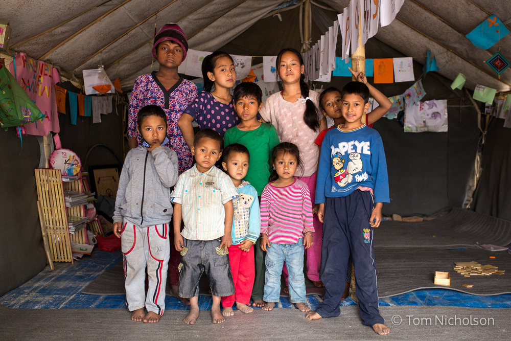 The Chuchepati Camp Temporary School in the Internally Displaced Person (IDP) camp in Chuchepati, Kathmandu City, Nepal on 27 March 2016. The camp houses people in temporary accomodation due to the April 2015 earthquake.
