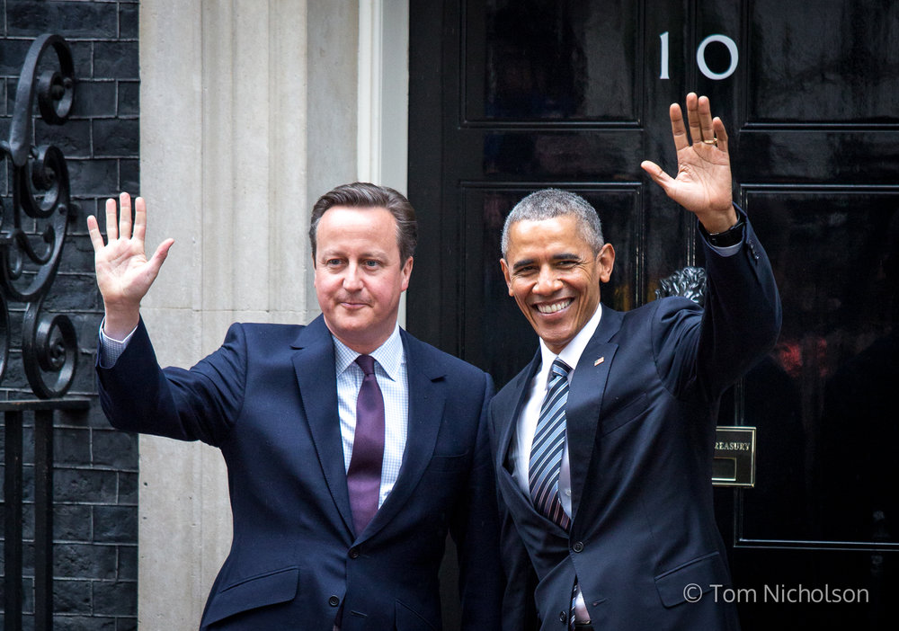 22/04/2016. London, UK. US President Barack Obama visits 10 Downing Street for a joint press conference with British Prime Minister David Cameron.