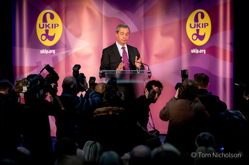 28/11/2016. London, UK. Interim leader of UKIP Nigel Farage gives a press conference to announce the party's new leader, at the Emmanuel Centre, London, UK.