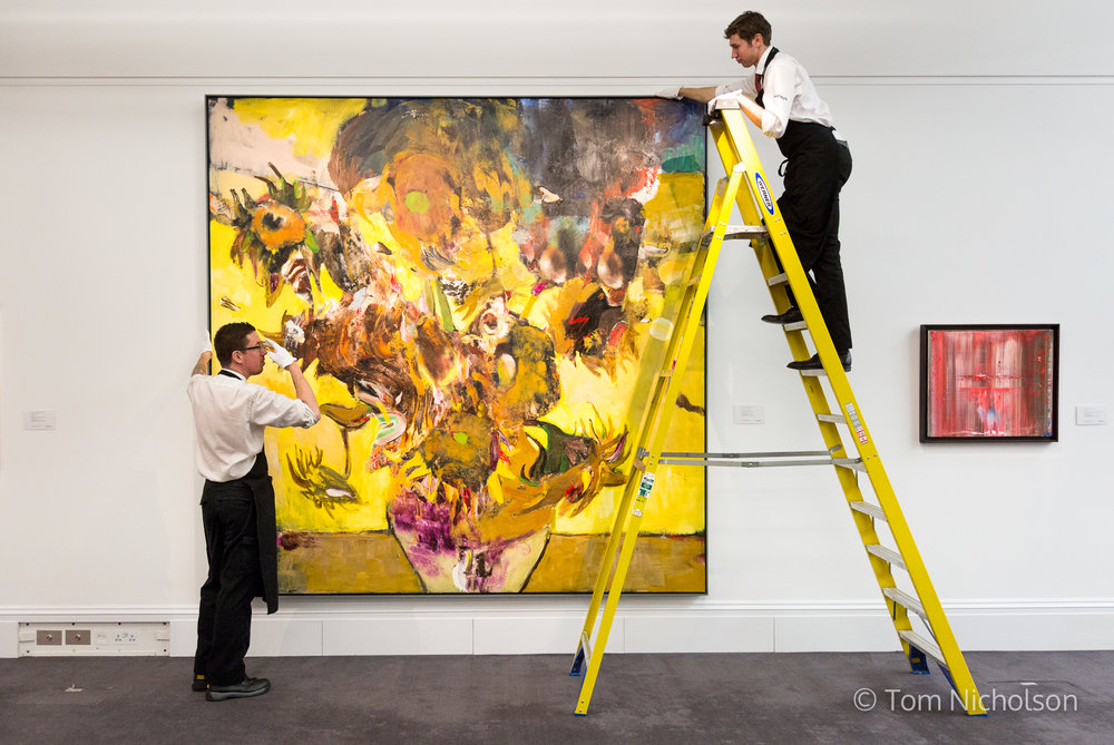 28/01/2016. London, UK. Adrien Ghenie's 'The Sunflowers in 1937', 2014, (estimated value £400,000-£600,000) is put on display in Sotheby's as part of 'A Walk Through the Giants of 20th-Century Art'.