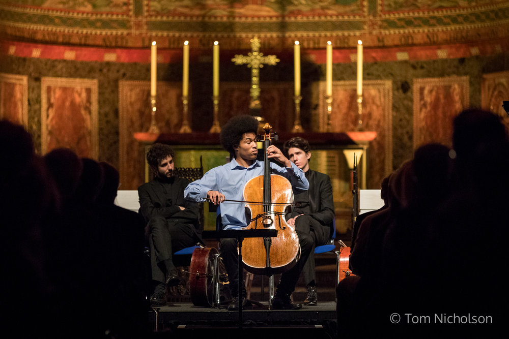 08/12/2016. London, UK. Virtuoso cellist Sheku Kanneh-Mason performs at the Macmillan Cancer Christmas Carol Concert. In May this year, Kanneh-Mason became the first black musician to win the BBC Young Musician of the Year Award in its 38-year history.