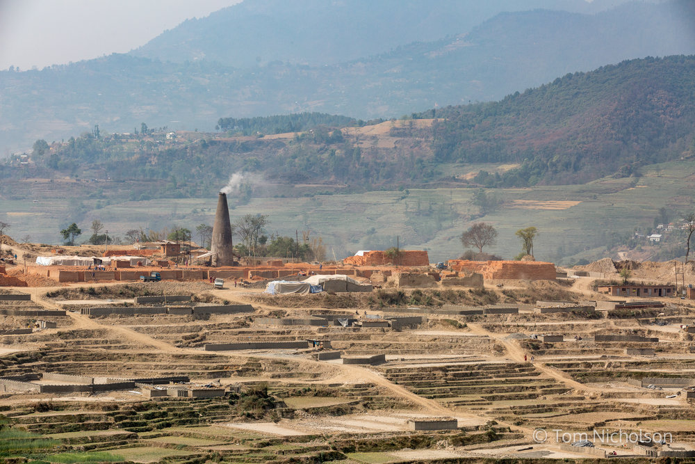 General view of the UK brickworks factory in Bungamati, Kathmandu, Nepal on 15 March 2016. Around 400 labourers, including children, work in very dusty and hot conditions.