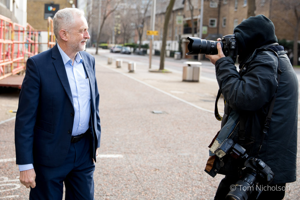 ©2017 Tom Nicholson. 26/03/2017. London, UK. Leader of the Labour Party Jeremy Corbyn is photographed as he arrives at the ITV Studios to appear on 'Peston on Sunday' programme.