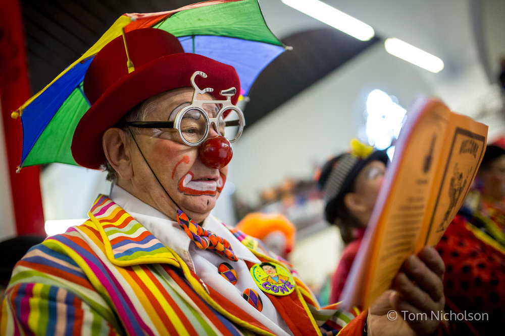 "©2017 Tom Nicholson. 05/02/2017. London, UK. Clowns attend the Grimaldi Church Service at Hackney at All Saints Church. The service commemorates the ""father"" of the modern clown, Joseph Grimaldi."
