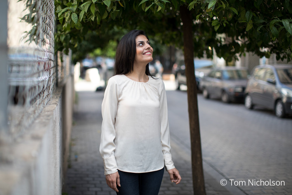 ©2018 Tom Nicholson. 19/06/2018. Beirut, Lebanon. Nawar Rahmouni, age 26, from Syria poses for a portrait. She is a journalism student.