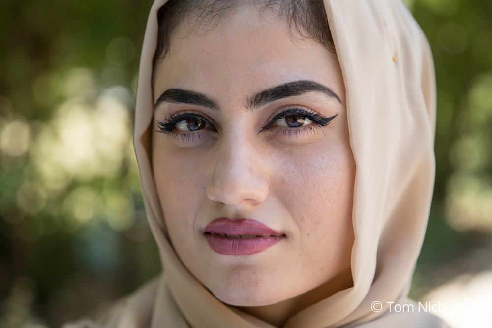 "©2018 Tom Nicholson. 27/06/2018. Erbil, Iraq. Payam Yassin, age 20, from Iraqi-Kurdistan is a Civil Engineering student. She said: ""In this country humans don't have rights: No electricity. No water. No basics to live a good life. This is why the youth are hopeless. When they have a dream they don't follow it."" Despite this, Payam is optimistic about her future. At university, she developed a 'smart stick' for blind people, which uses technology to sense obstacles ahead. She explained: ""everything in Kurdistan is imported...If we start by making small things we can develop our country."" She also works on the the 'Boost Your Beliefs' (BYB) counter-radicalisation programme. The programme focuses on countering online radicalisation by storytelling, campaigning and sending alternative messages. It aims to direct young people to education and job opportunities, paving the way for a future workforce and subsequently reducing the risk of future radicalisation and violent extremism."