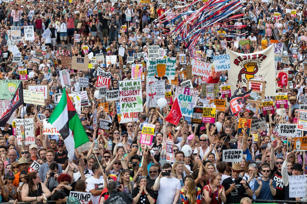 Tens of thousands of demonstrators hold a rally in Trafalgar Square to protest against the President of the United States, Donald Trump, and his ongoing four-day visit to the UK. July 2018 - London, UK