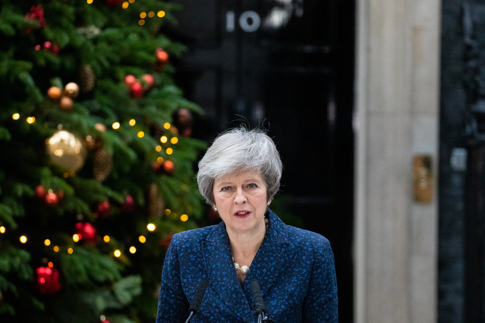 British Prime Minister Theresa May makes a statement outside 10 Downing Street announcing that she will contest tonight's vote of no confidence in her leadership, after 48 letters were handed in this morning. December 2018 - London, UK