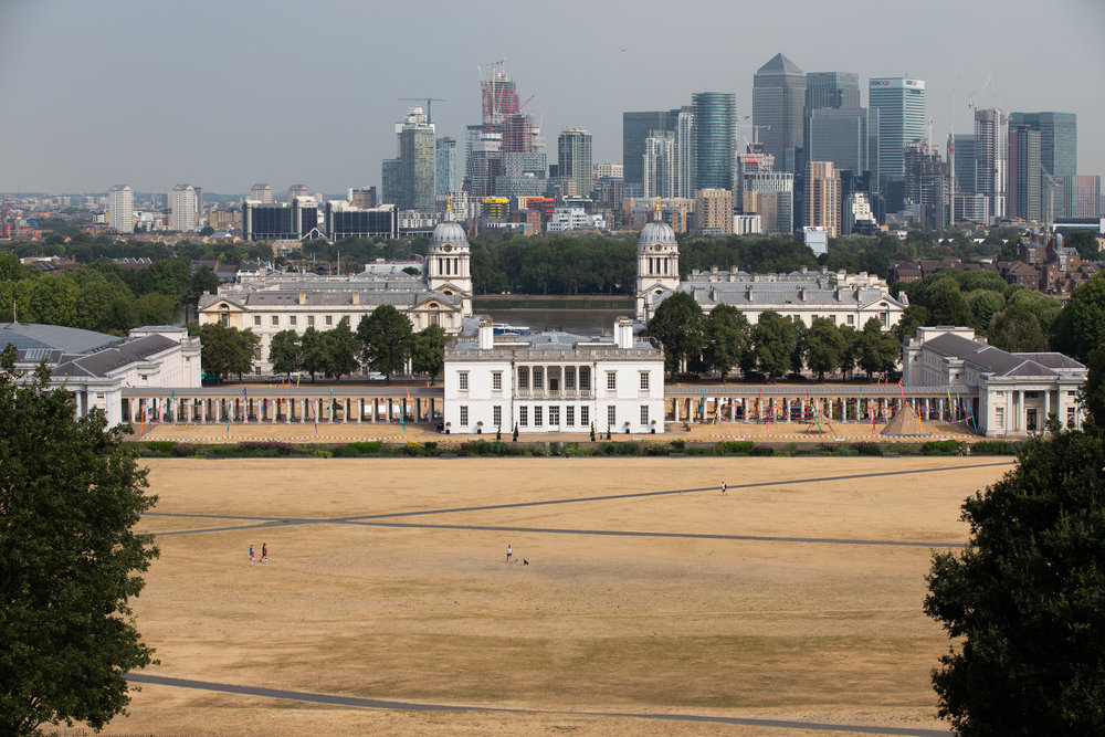Greenwich Park during hot weather. Temperatures in the capital reached over 30 degrees yesterday, as the UK experiences a prolonged heatwave. Thunder and lightning is forecast later today. July 2018 - London, UK.