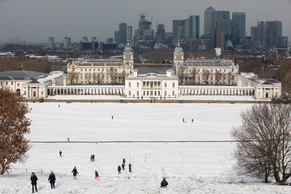 Greenwich Park covered in snow due to cold weather originating in Siberia dubbed 'the Beast from the East'.  February 2018 - London, UK.