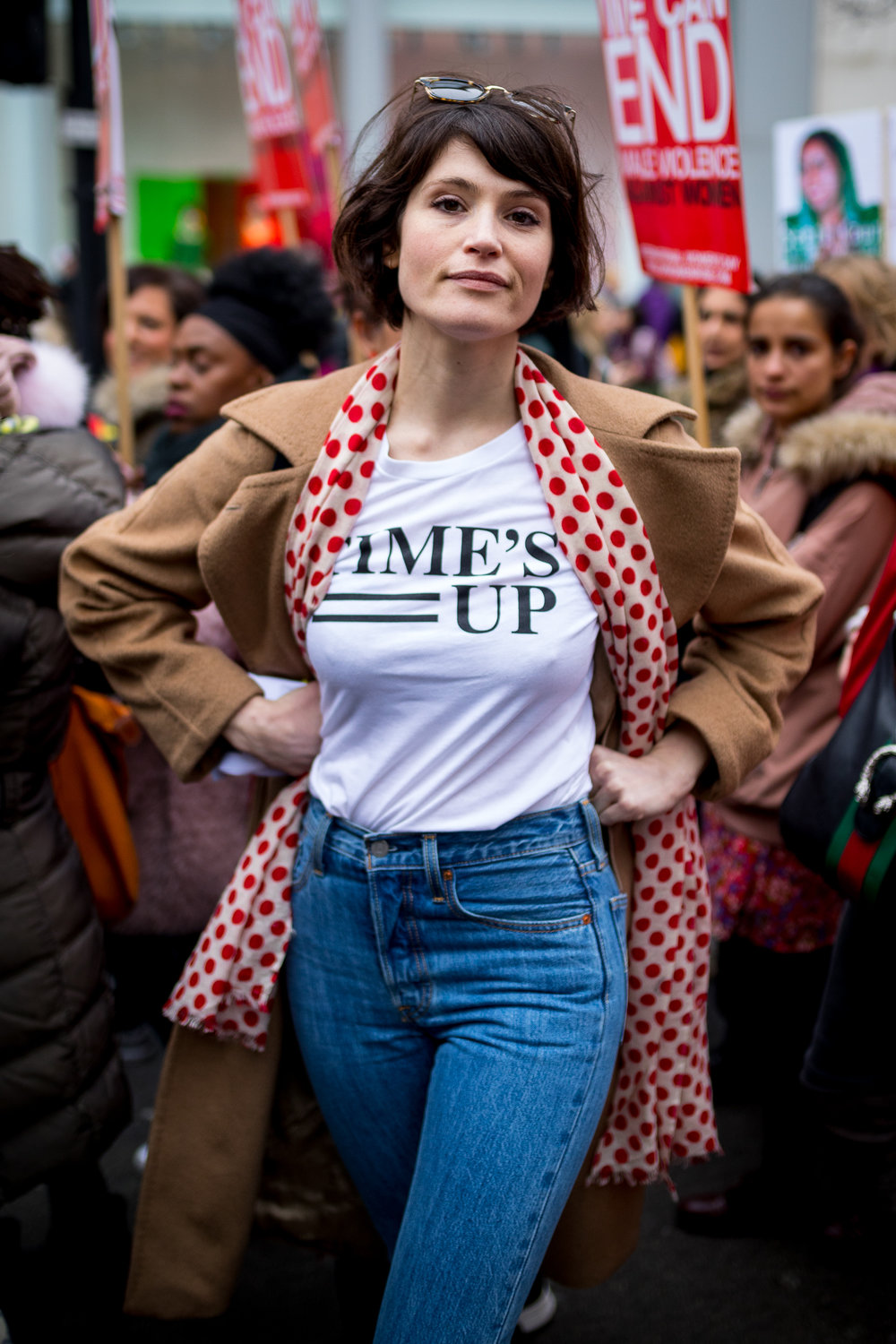 Gemma Arterton takes part in the 'Million Women Rise' march through central London, campaigning against domestic violence against women. Organisers have asked participants to wear red for the demonstration. On Thursday (8 March) this week, International Women's Day was celebrated. March 2018 - London, UK.